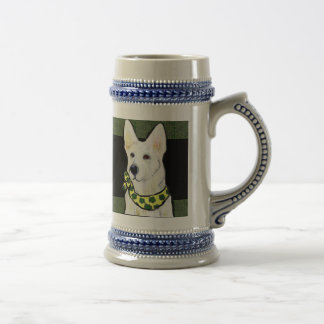 White German Shepherd St. Patty Beer Stein