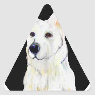 WHITE GERMAN SHEPHERD TRIANGLE STICKER