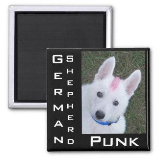White German Shepherd w. Mohawk 2 Inch Square Magnet