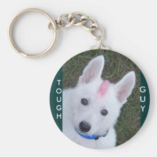 White German Shepherd w. Mohawk Basic Round Button Keychain