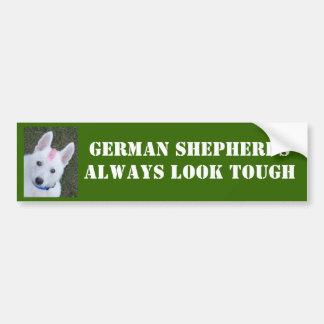 White German Shepherd w. Mohawk Bumper Sticker