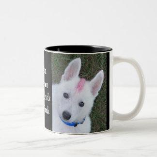 White German Shepherd w. Mohawk Two-Tone Coffee Mug