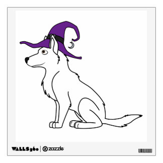 White German Shepherd with Witch Hat Wall Graphic