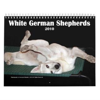 White German Shepherds Wall Calendar