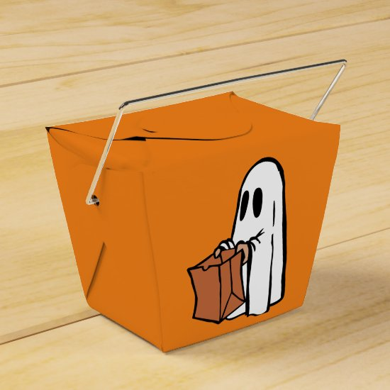 White Ghost with Trick-or-Treat Bag Goodie Box