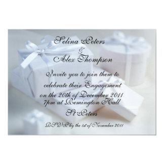 White Gift Engagement Invitation