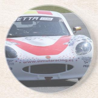White Ginetta racing car Beverage Coaster