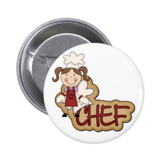White Girl Chef T-shirts and Gifts Button