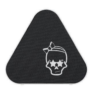 White Girly Skull with a Bow Line Art on Dark Speaker