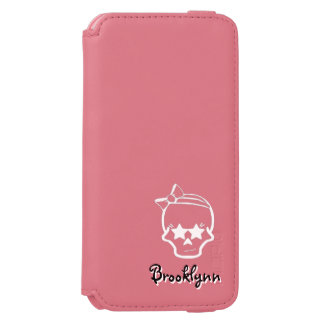 White Girly Skull with a Bow Line Art on Dark Incipio Watson™ iPhone 6 Wallet Case