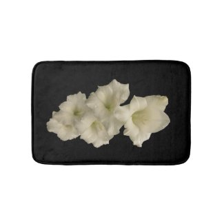 White Gladiola Flower Bath Mats