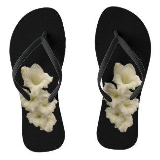 White Gladiola Flower Flip Flops