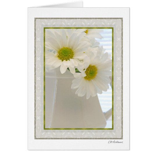 White glass with daisies 2 card