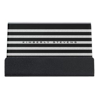 White Glitter And Black Stripes Desk Business Card Holder