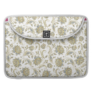 White Glitter And Gold Floral Damasks MacBook Pro Sleeve