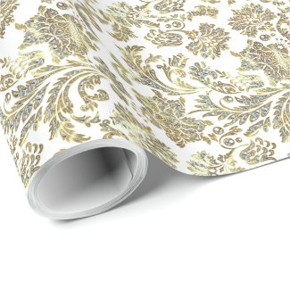 White Glitter And Gold Vintage Damasks Pattern Wrapping Paper