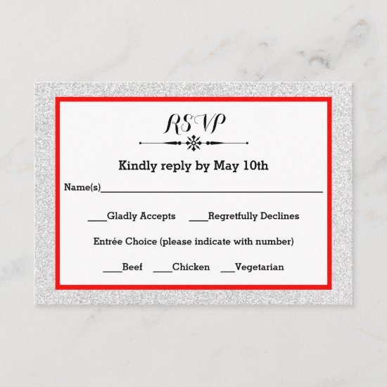 White Glitter and Red Frame- RSVP Response Card