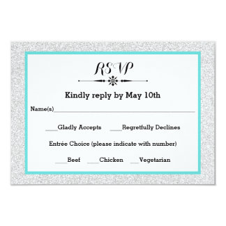 White Glitter and Teal Frame- RSVP Response Card