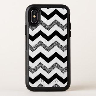 White Glitter Chevron iPhone X Otterbox Case