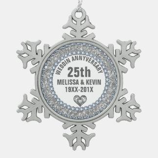 White Glitter & Diamonds 25th Anniversary Snowflake Pewter Christmas Ornament