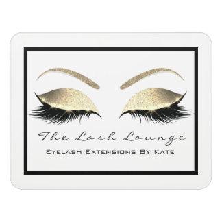 White Glitter Gold Beauty Salon Lashes Makeup Door Sign