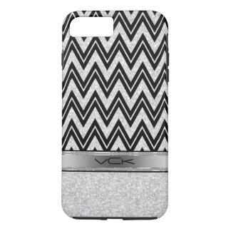 White Glitter & Sparkles, Black Zigzag Chevron iPhone 7 Plus Case