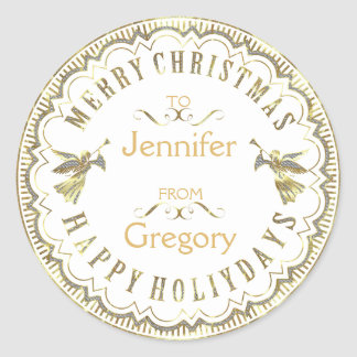White & Glitter Typographical Christmas & Angels Classic Round Sticker