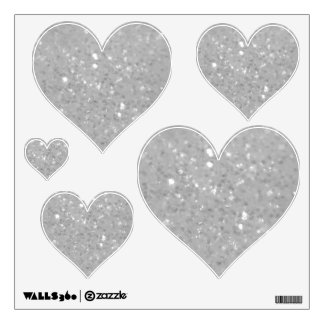 White Glittery Look Heart: Wall Decals