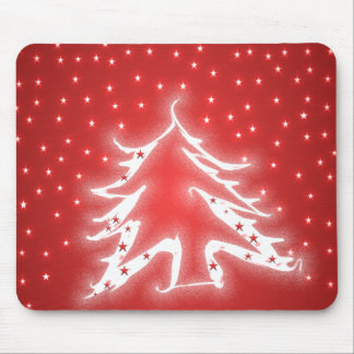 White Glowing Christmas Tree Stars on Red Mousepad