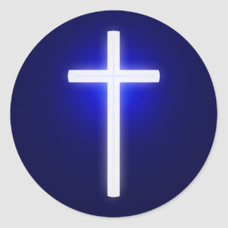 White Glowing Cross | Christian Navy Blue Classic Round Sticker