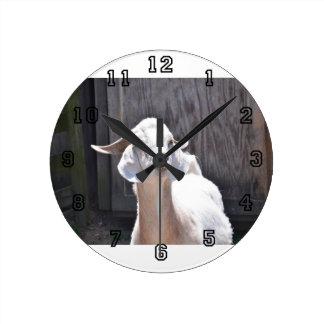 White goat round wall clocks