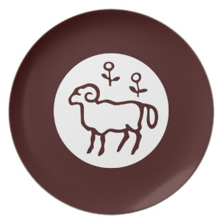 White Goat Silhouette in Dark Brown Plate