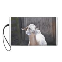 White goat wristlet purses
