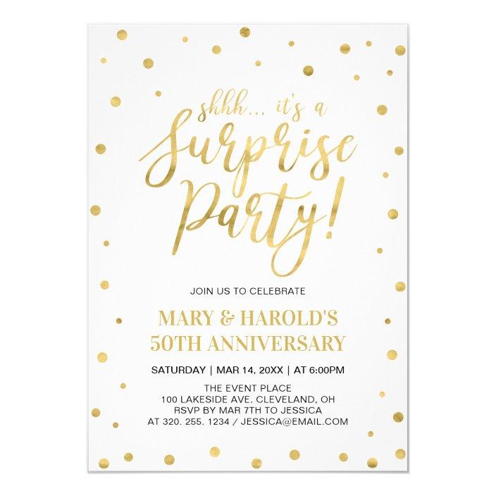 White Gold 50th Surprise Wedding Anniversary Invitation Zazzle Com