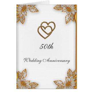 White Gold  50th Wedding Anniversary Card