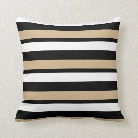 White Gold and Black Striped Throw Pillow