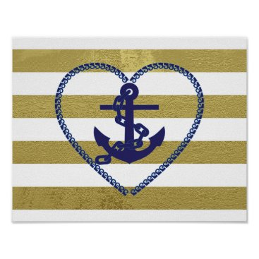 Art Themed White, Gold and Blue Anchor of My Heart Poster