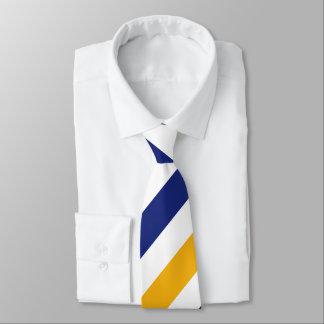 White Gold and Blue Regimental Stripe Tie
