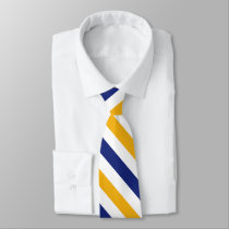 White Gold and Blue University Stripe Tie