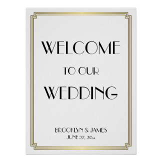 White Gold Art Deco Gatsby Wedding Reception Sign