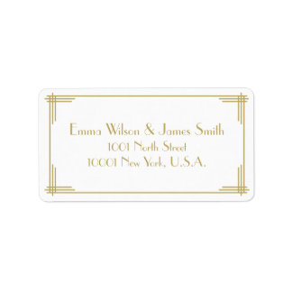White Gold Art Deco Great Gatsby Address Labels