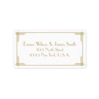 White Gold Art Deco Great Gatsby Address Labels
