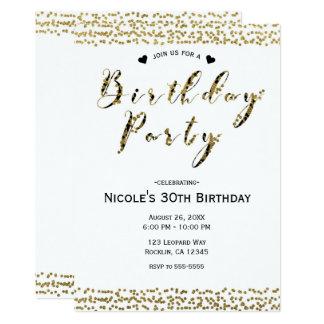 White Gold & Black Chic Modern Glam Birthday Party Card