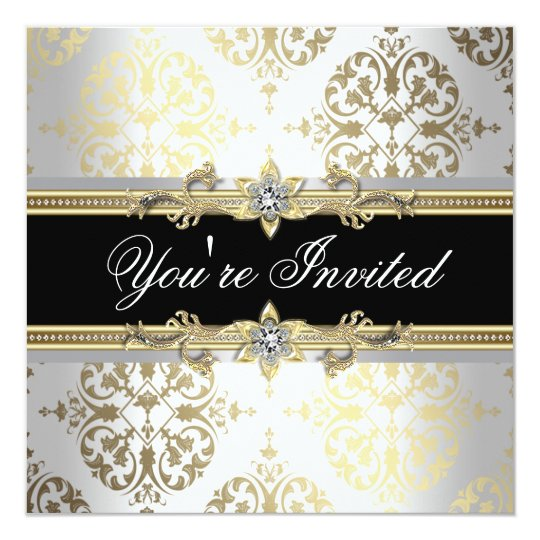 White Gold Black Damask Party Invitations