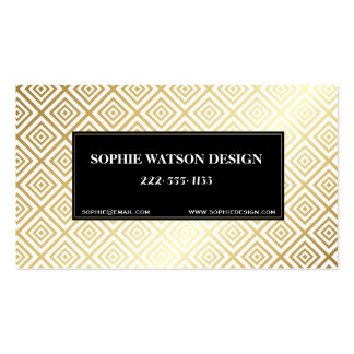 White Gold & Black Metallic Classic Business Card