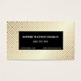 White Gold & Black Metallic Classic Business Card