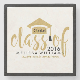 White Gold & Black Modern Class Of 2016 Stone Coaster