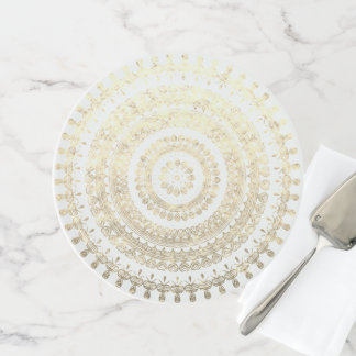 White Gold Boho Tribal Circle Mandala Metallic Eff Cake Stand