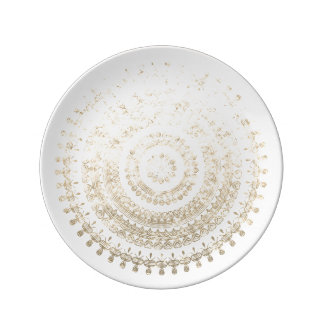 White Gold Boho Tribal Circle Mandala Metallic Eff Dinner Plate