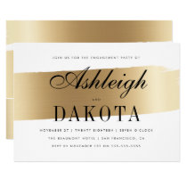 White & Gold Brush Stroke Engagement Party Invitation